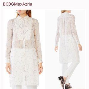 BCBG 100% SILK tunic blouse XS MAXAZRIA